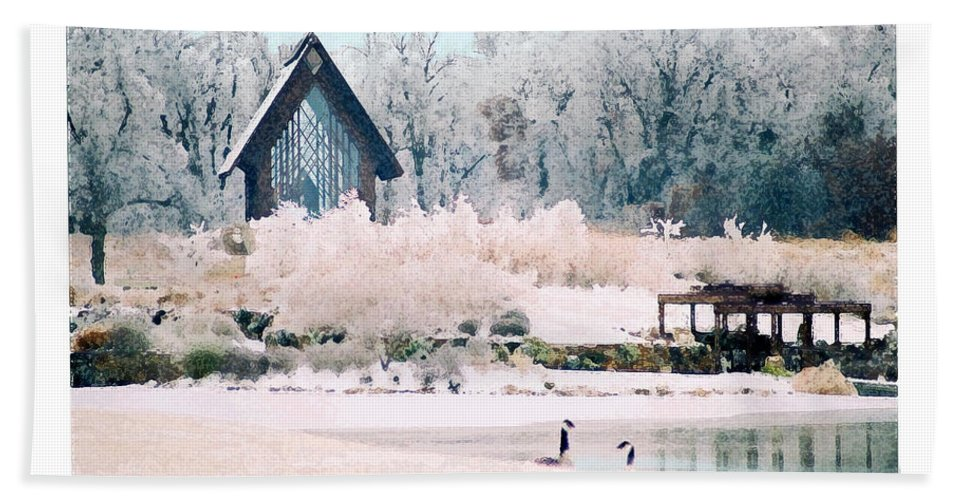 Landscape Hand Towel featuring the photograph Powell Gardens Chapel by Steve Karol