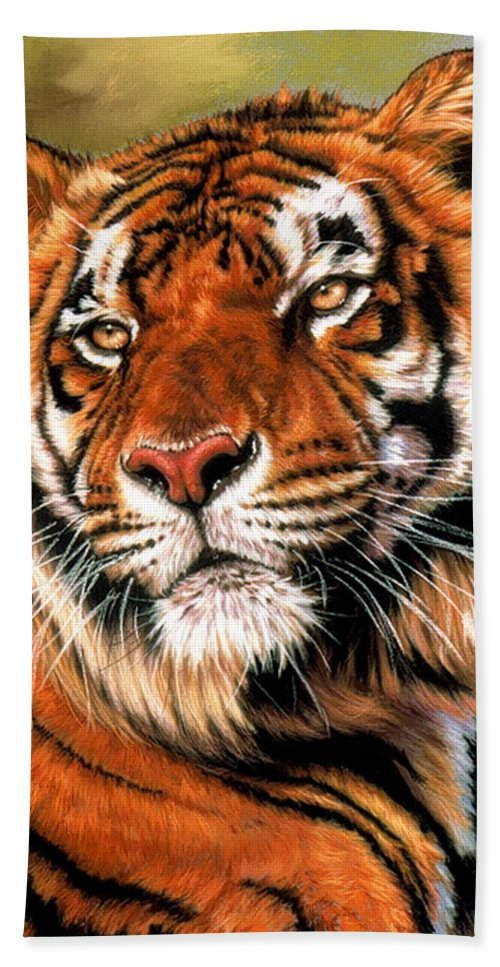 Tiger Bath Towel featuring the pastel Power And Grace by Barbara Keith