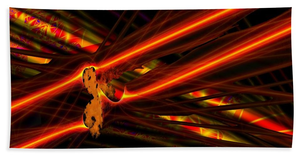 Power Lines Bath Towel featuring the digital art Power Lines by Ron Bissett