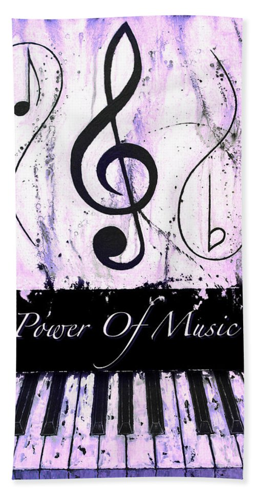 Power Of Music Purple Hand Towel featuring the mixed media Power Of Music Purple by Wayne Cantrell
