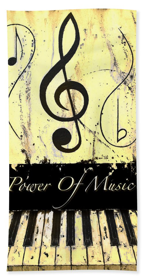 Power Of Music Yellow Hand Towel featuring the mixed media Power Of Music Yellow by Wayne Cantrell