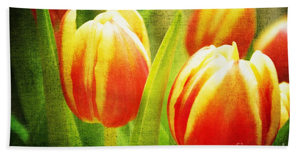 Tulips Bath Sheet featuring the photograph Power Of Spring by Angela Doelling AD DESIGN Photo and PhotoArt