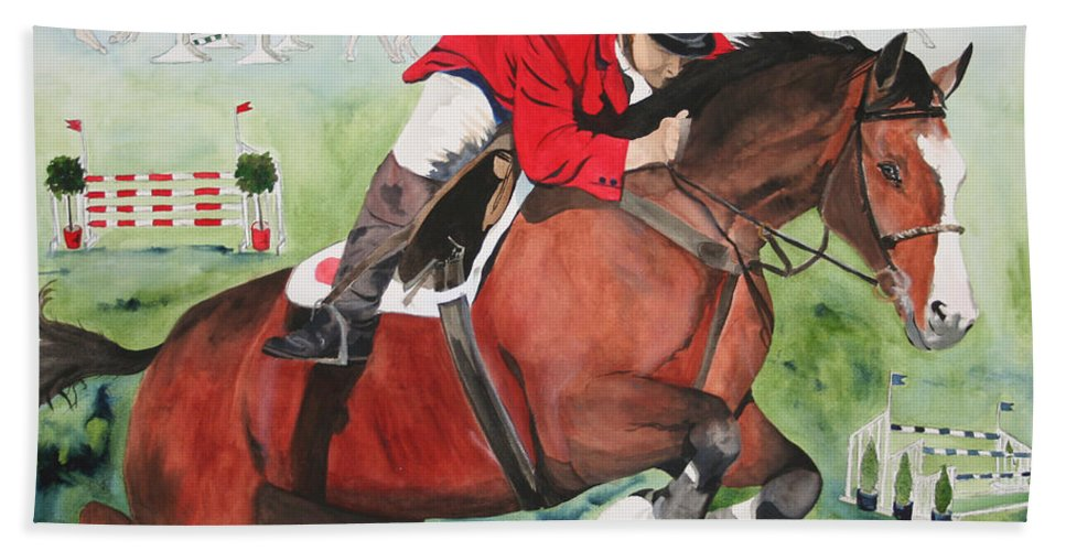 Horse Hand Towel featuring the painting Practice Makes Perfect by Jean Blackmer