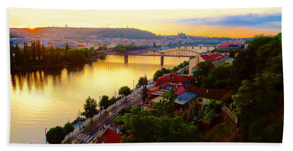 Prague Bath Sheet featuring the photograph Prague At Sundown by Oliver Novak