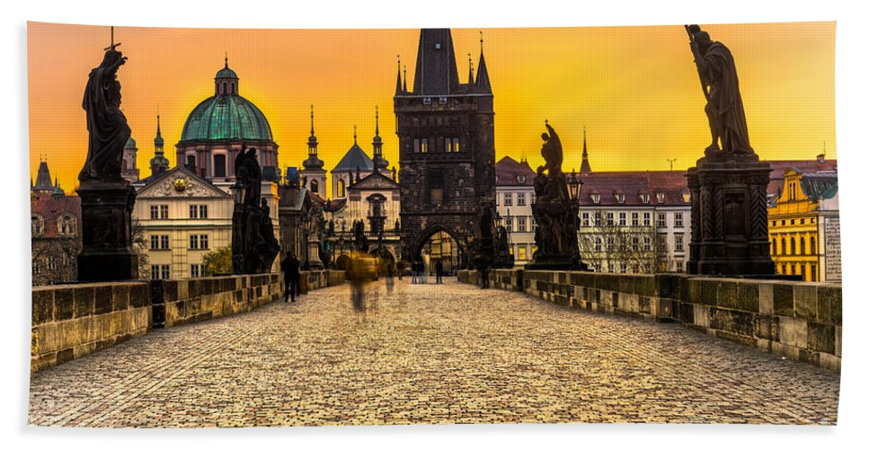 Czech Bath Sheet featuring the photograph Prague - Charles Bridge - Czech Republic by Luciano Mortula