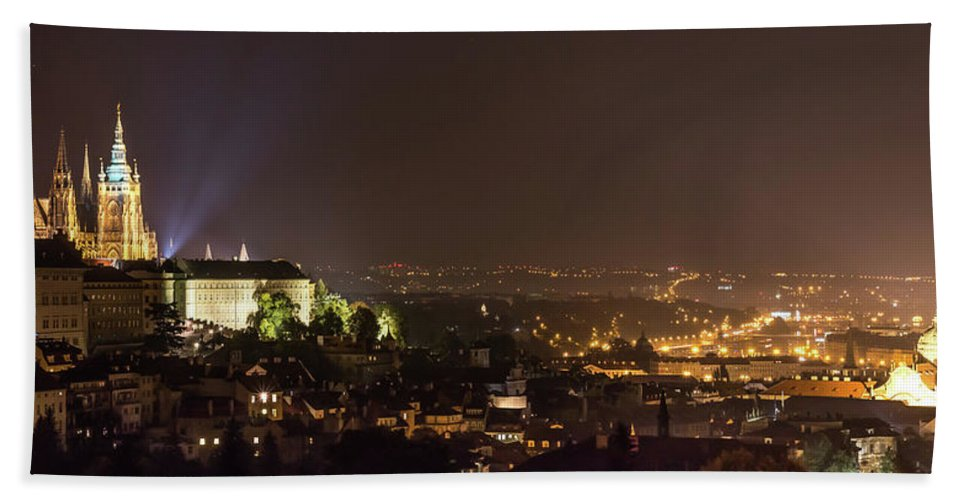 Castle Bath Towel featuring the photograph Prague - Night Overview by Fabio Gomes Freitas