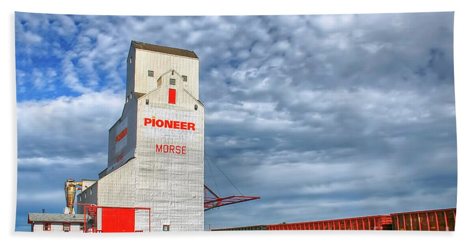 Grain Elevator Hand Towel featuring the photograph  Prairie Cathedral In Morse Saskatchewan  by Teresa Zieba