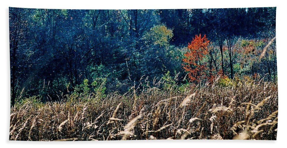 Landscape Bath Towel featuring the photograph Prairie Edge by Steve Karol