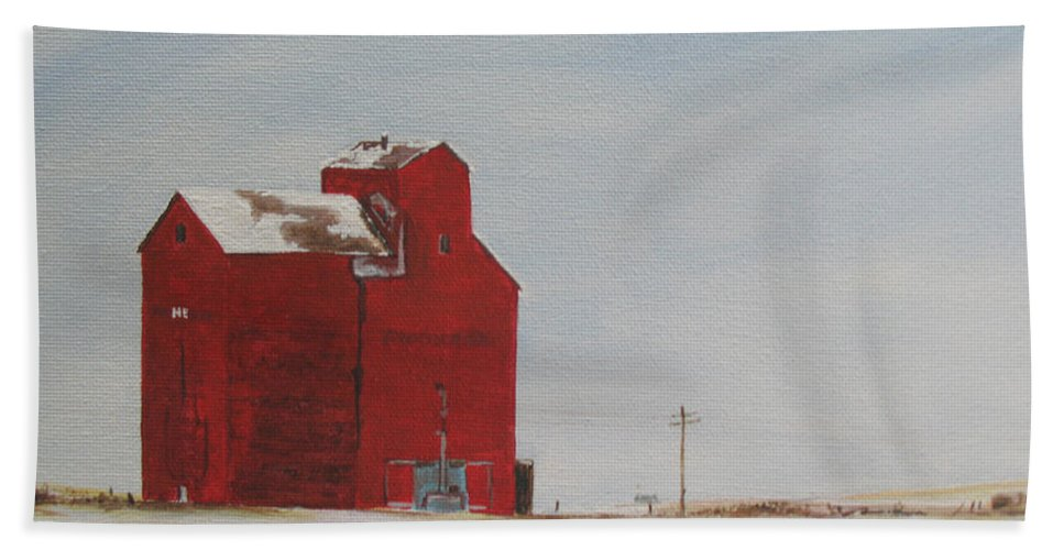 Grain Elevators Hand Towel featuring the painting Prairie Giants I by Elaine Booth-Kallweit