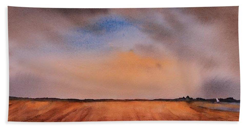 Prairie Hand Towel featuring the painting Prairie Playground by Ruth Kamenev