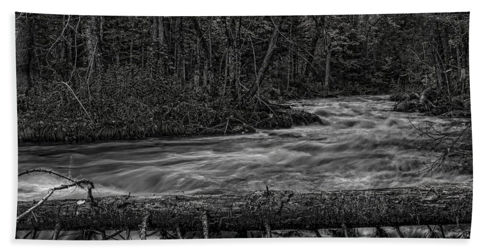 Dale Kauzlaric Bath Sheet featuring the photograph Prairie River Crossing Log Square Format by Dale Kauzlaric