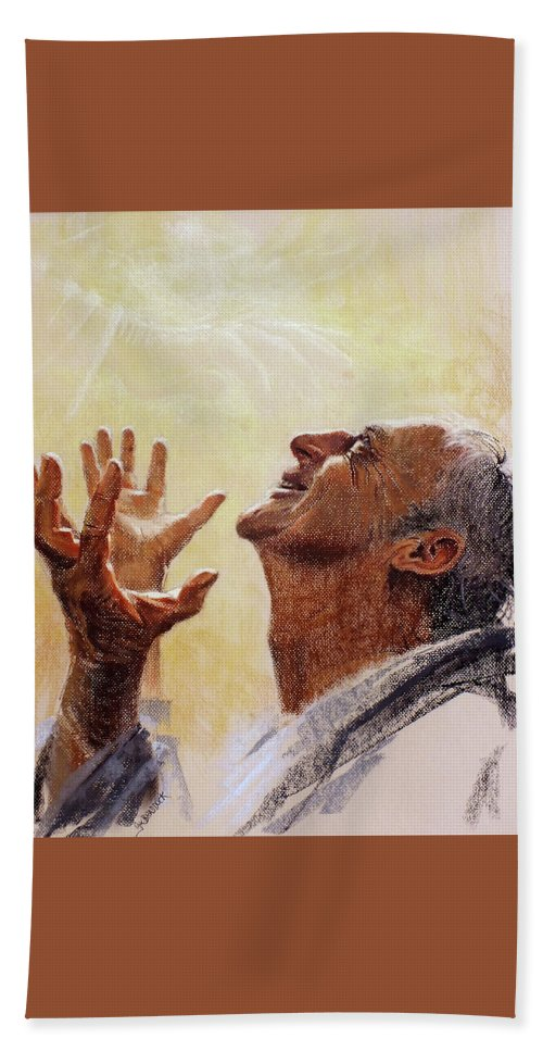 Joy Hand Towel featuring the painting Praise. I Will Praise Him by Graham Braddock