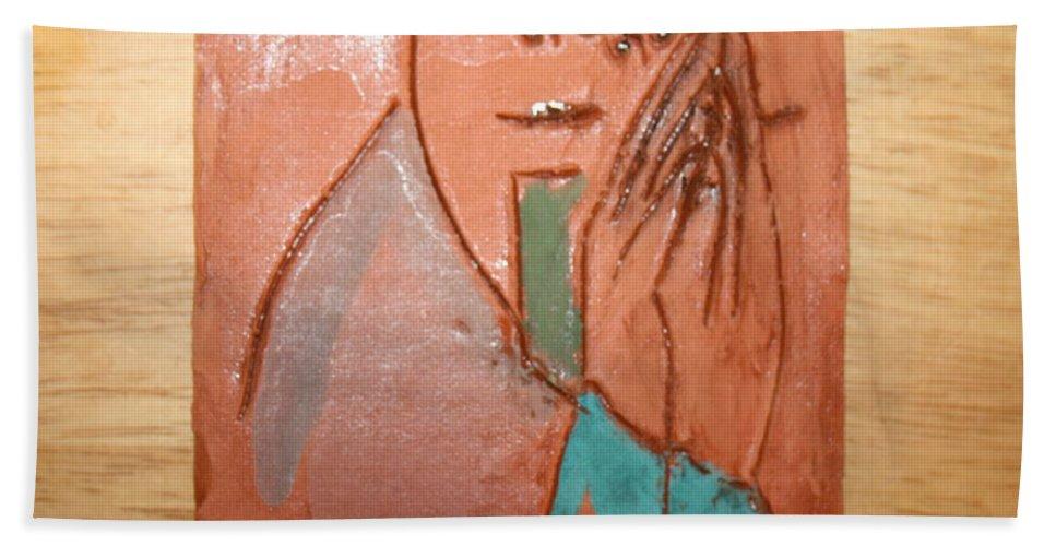 Jesus Hand Towel featuring the ceramic art Prayer 39 - Tile by Gloria Ssali