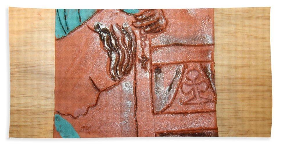 Jesus Hand Towel featuring the ceramic art Prayer 40 - Tile by Gloria Ssali