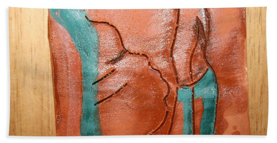 Jesus Bath Sheet featuring the ceramic art Prayer 42 - Tile by Gloria Ssali