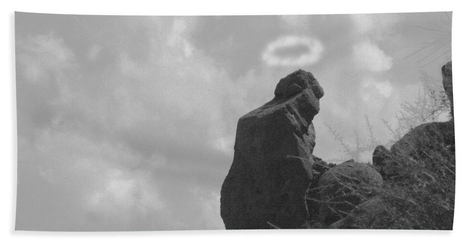 'praying Monk' Bath Sheet featuring the photograph Praying Monk - Arizona - Poster Print by James BO Insogna