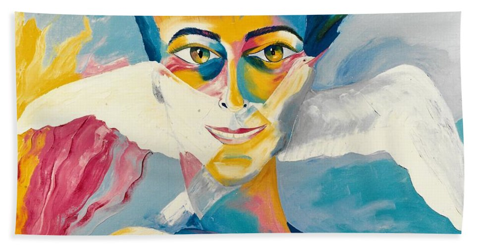 Preciada Azancot Self-portrait Hand Towel featuring the painting Preciada Azancot Self-portrait With A Dove by Preciada Azancot