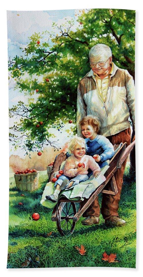 Wheelbarrow Bath Sheet featuring the painting Precious Cargo by Hanne Lore Koehler