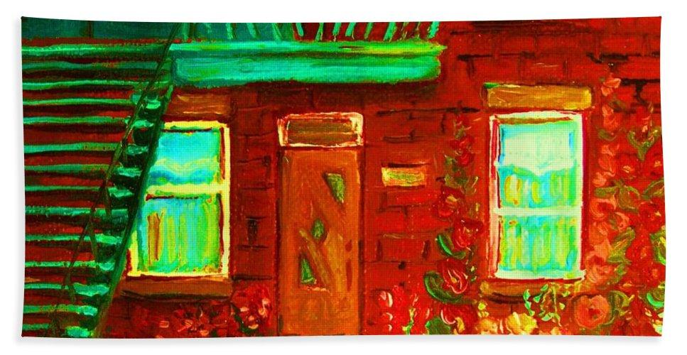 Little Flower Garden Bath Towel featuring the painting Precious Green Space by Carole Spandau