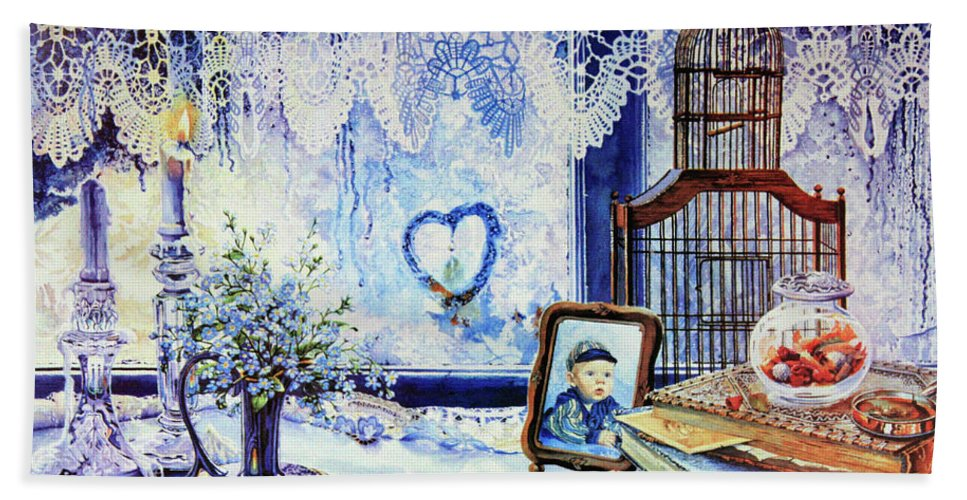 Lace Curtain Hand Towel featuring the painting Precious Memories by Hanne Lore Koehler