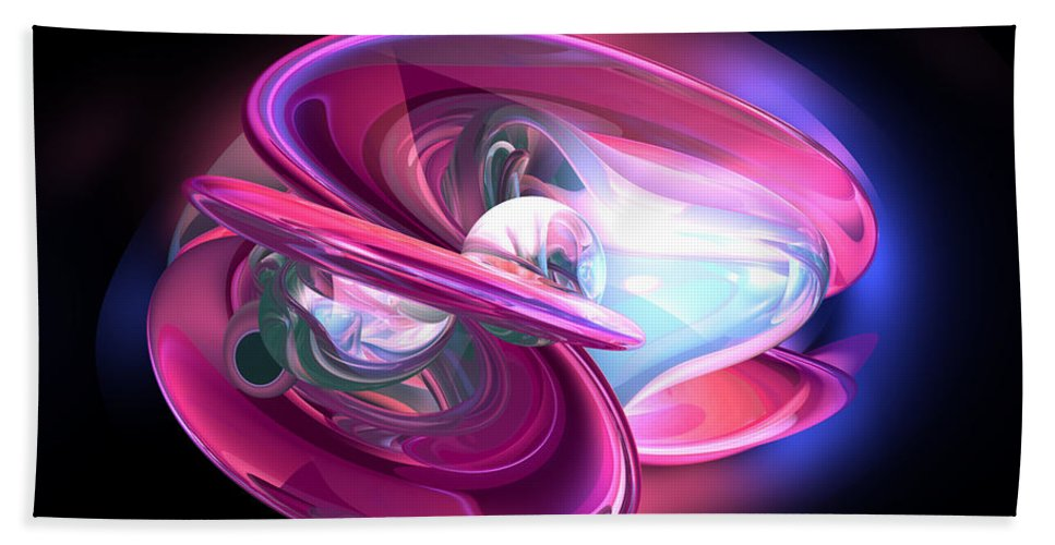 3d Hand Towel featuring the digital art Precious Pearl Abstract by Alexander Butler