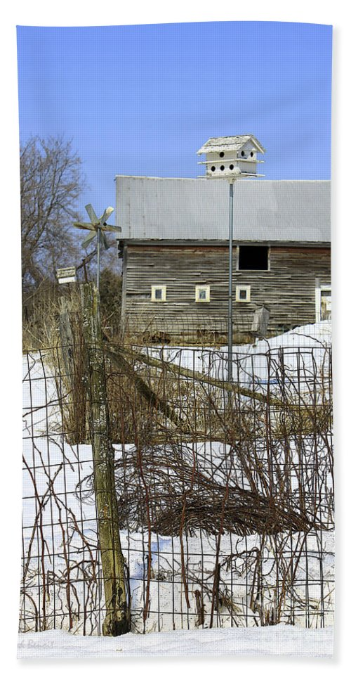 Country Bath Sheet featuring the photograph Premium Bird House View by Deborah Benoit