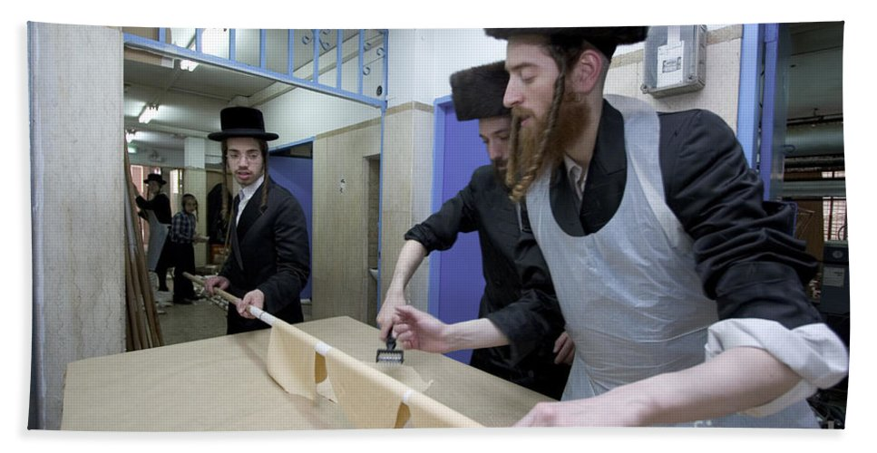 Matza Hand Towel featuring the photograph Preparing Matzah Israel by Danny Yanai