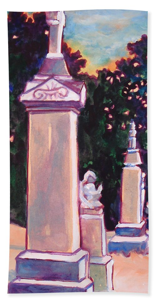 Painting Bath Sheet featuring the painting Present Meets Past by Kathy Braud