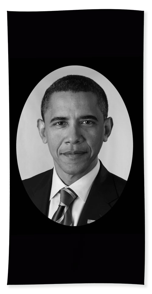 Obama Hand Towel featuring the photograph President Barack Obama by War Is Hell Store
