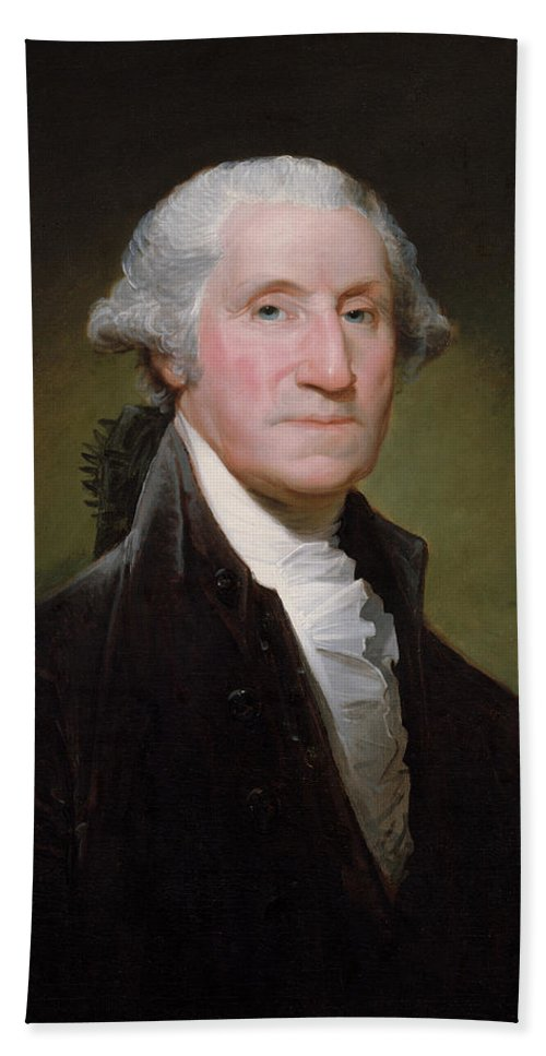George Washington Bath Towel featuring the painting President George Washington by War Is Hell Store