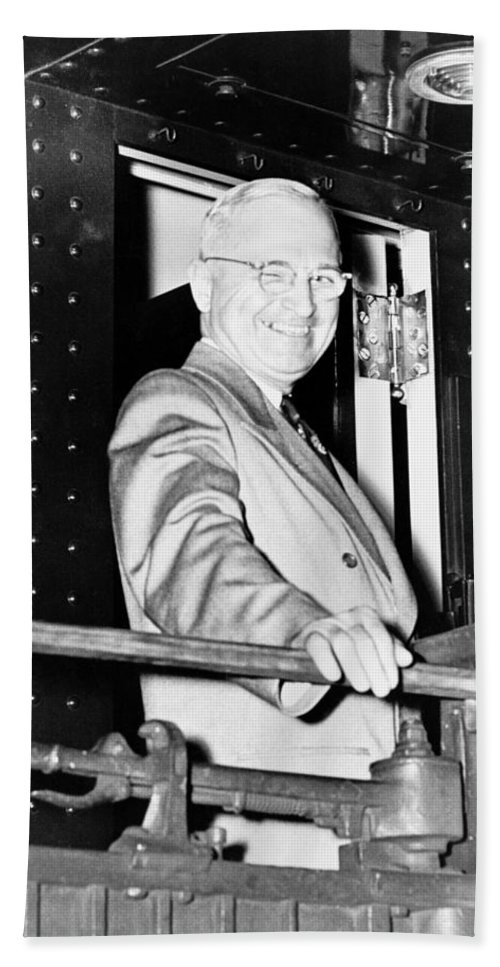 Harry Truman Hand Towel featuring the photograph President Harry Truman by War Is Hell Store