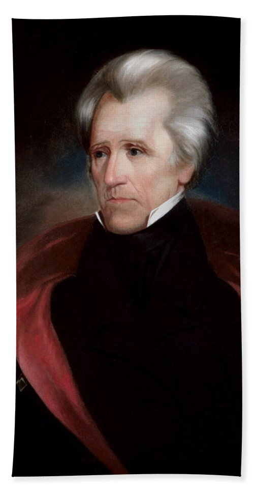 Andrew Jackson Bath Towel featuring the painting President Jackson by War Is Hell Store