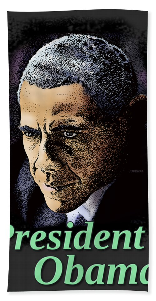 Canvas Prints Hand Towel featuring the drawing President Obama by Joseph Juvenal