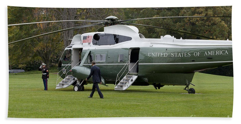 President Hand Towel featuring the photograph President Obama Walking Toward Marine One by B Christopher