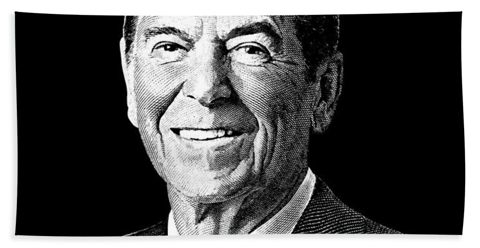 President Ronald Reagan Graphic Black And White Bath Towel For