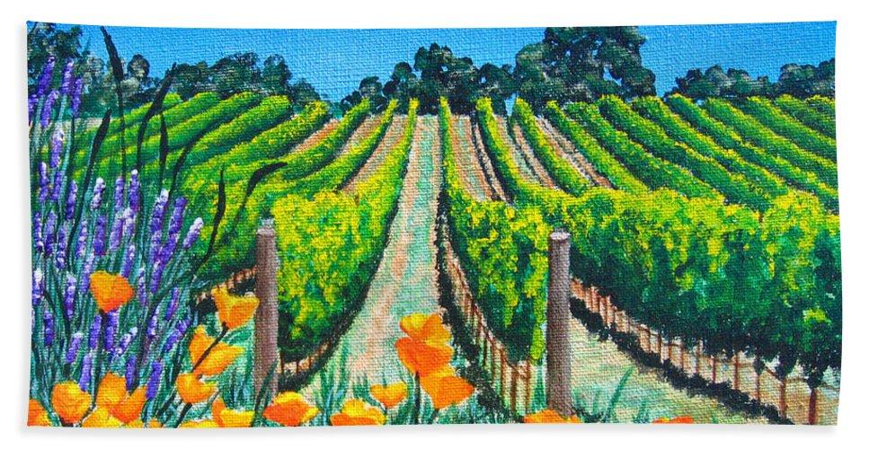 Vineyard Bath Sheet featuring the painting Presidio Vineyard by Angie Hamlin