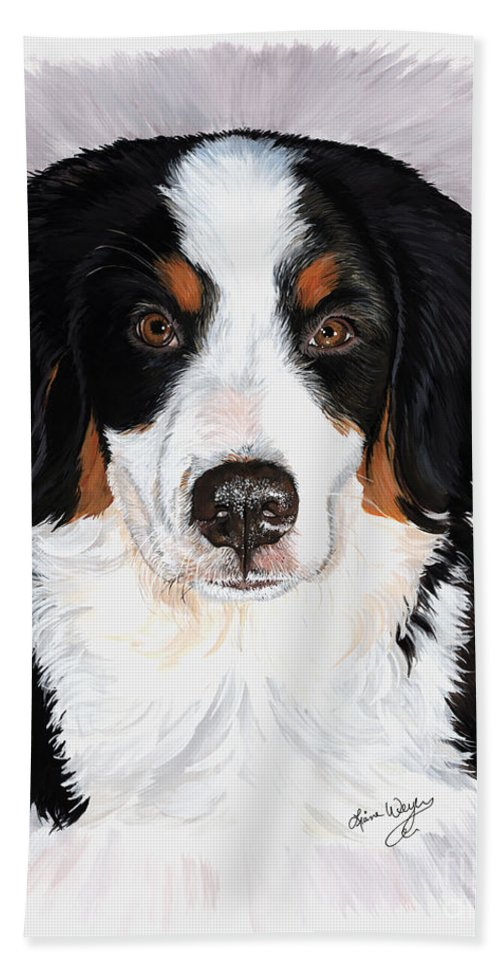 Bernese Mountain Dog Bath Sheet featuring the painting Presley by Liane Weyers