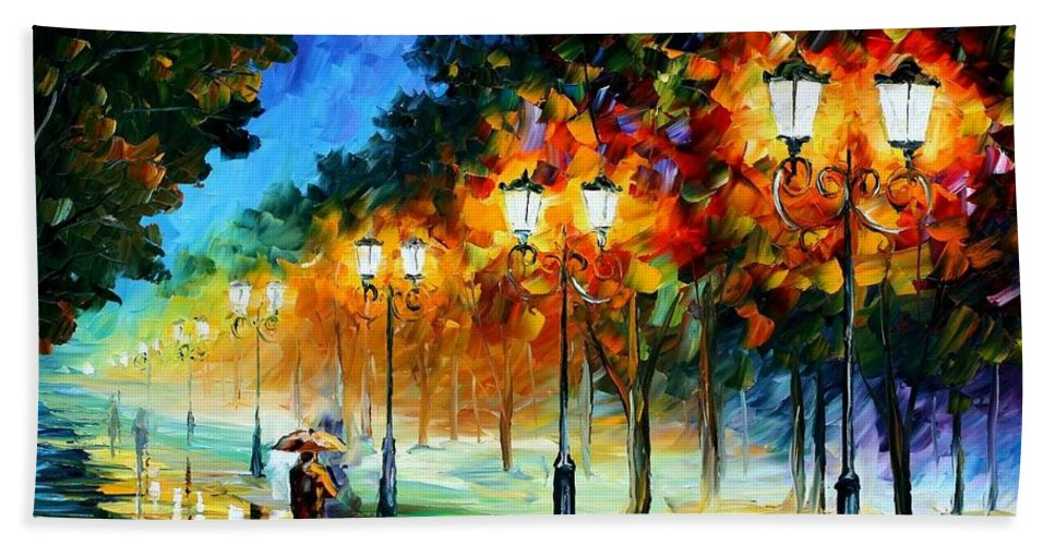 Afremov Bath Sheet featuring the painting Prespective Of The Night by Leonid Afremov
