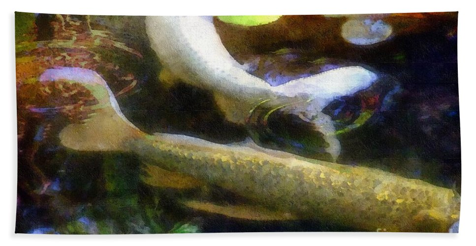 Fish Bath Sheet featuring the painting Pretending To Be Coy by RC DeWinter