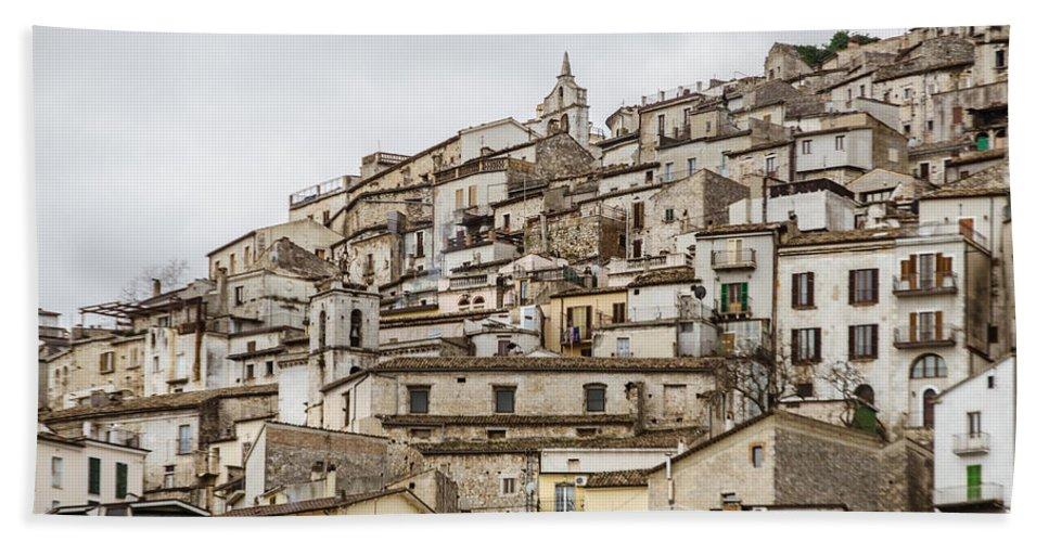 Pretoro Bath Sheet featuring the photograph Pretoro - An Ancient Village by Andrea Mazzocchetti