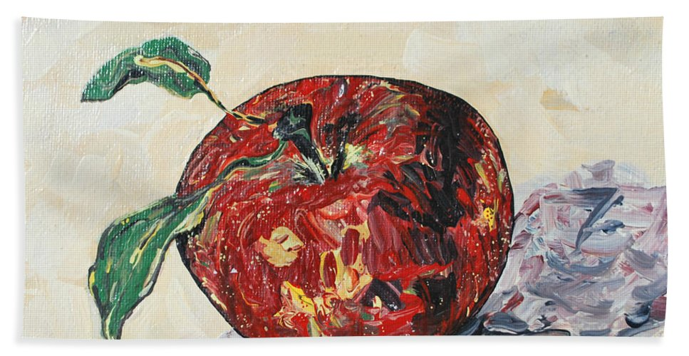 Apples Hand Towel featuring the painting Pretty Apple by Reina Resto