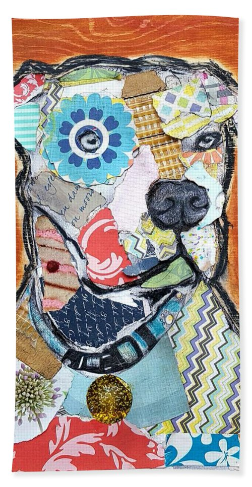 Pitbull Lovers Hand Towel featuring the mixed media Pretty Boy Pitbull by Theresa Bendzius