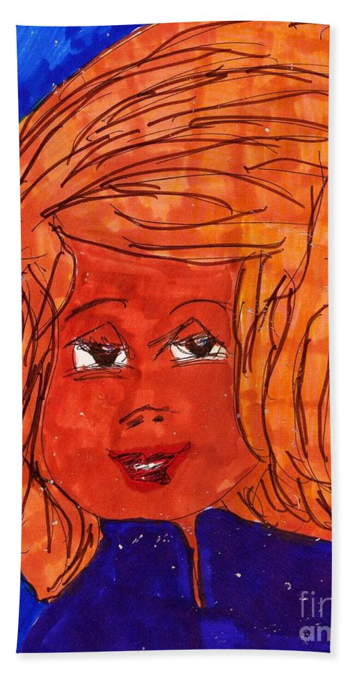 Alot Of Blonde Hair On This Lady. Blue Background Hand Towel featuring the mixed media Pretty Face by Elinor Helen Rakowski