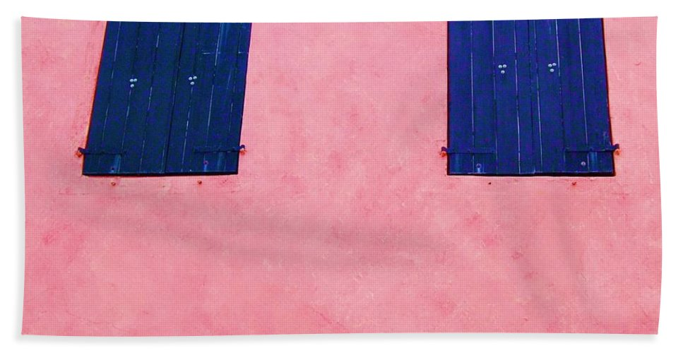 Shutters Bath Towel featuring the photograph Pretty In Pink by Debbi Granruth