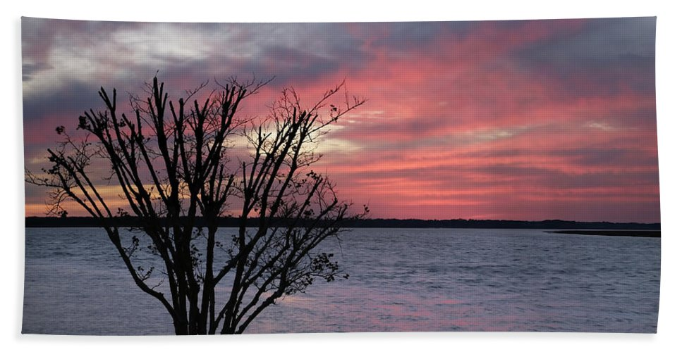 Sunset Hand Towel featuring the photograph Pretty In Pink by Phill Doherty