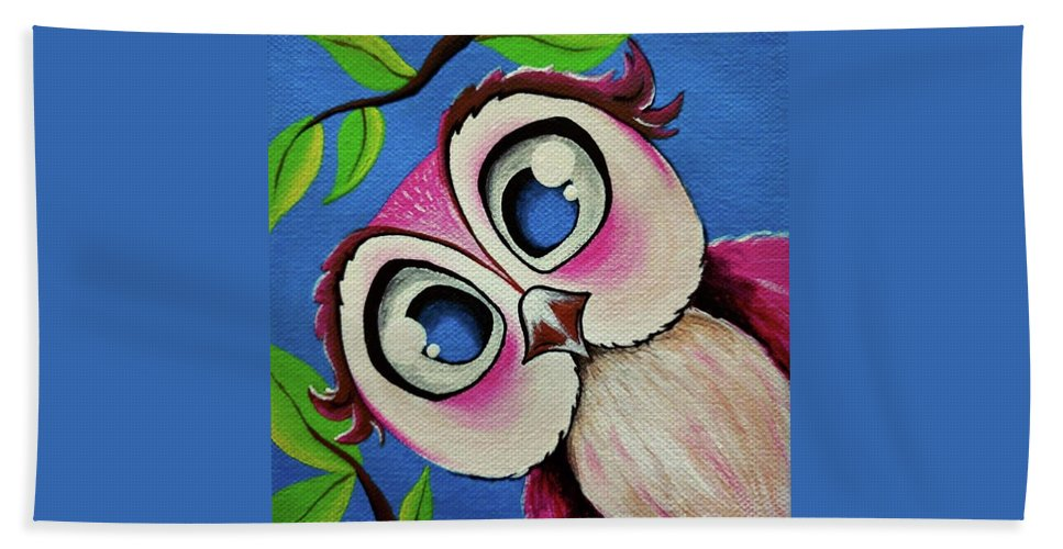 Acrylic Bath Sheet featuring the painting Pretty Pinky Owl by Deepalakshmi Sampath