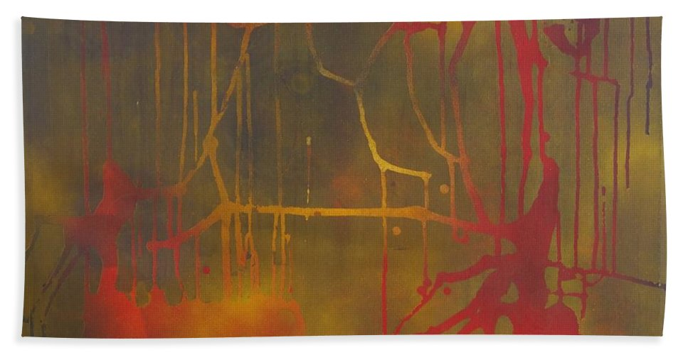 Abstract Bath Towel featuring the painting Pretty Violence on a Screen Door by Eric Dee