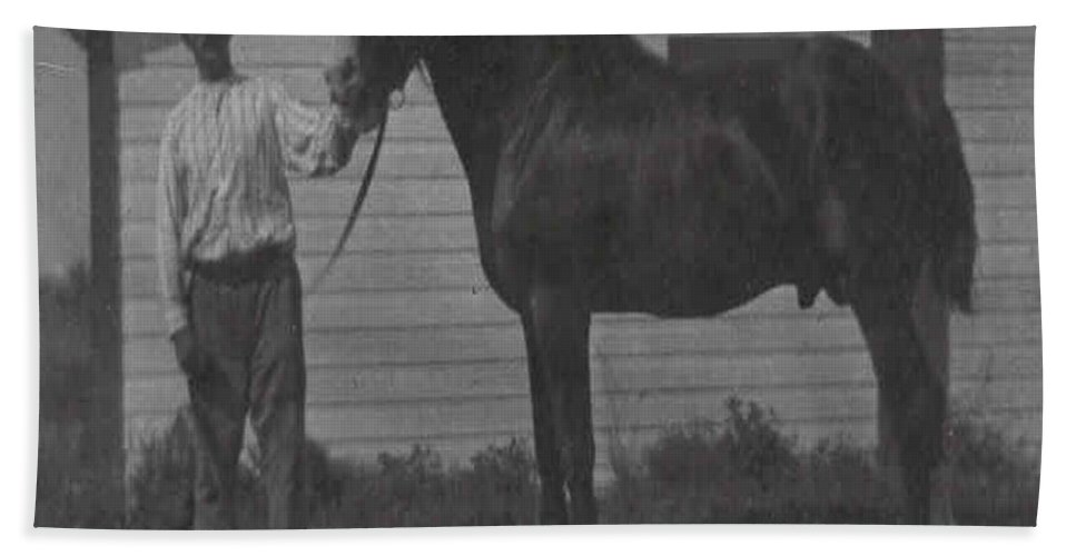 Old Photo Black And White Classic Saskatchewan Pioneers History Horse Clyde Sire Bath Sheet featuring the photograph Pride And Joy by Andrea Lawrence