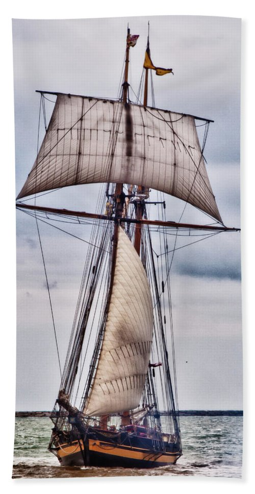 Boats Bath Sheet featuring the photograph Pride Of Baltimore II 5986 by Guy Whiteley