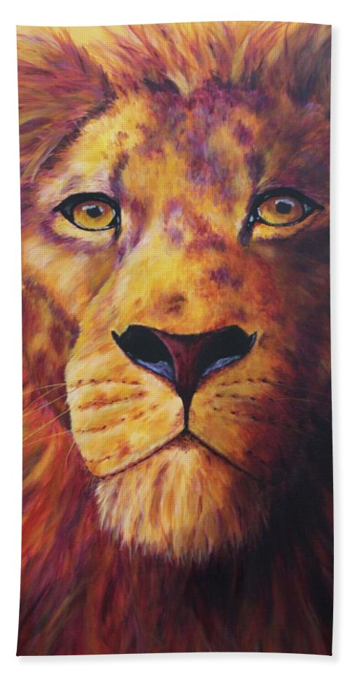 Lion Hand Towel featuring the painting Pride by Wendi Curtis